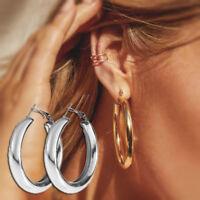 Mode Frauen Großen Kreis Creolen Hochzeit Baumeln Silber Ohrringe Schmuck