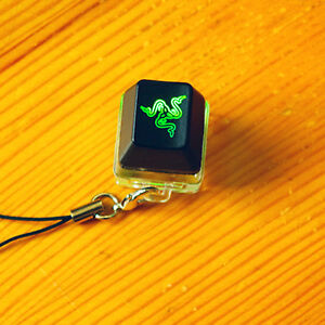 Razer Green Switch Tester Sampler Translucent Black Logo Keycaps Key Chain