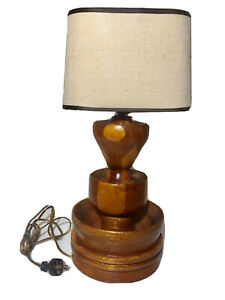 Antique Turned Two Toned Wood Geometric Table Lamp