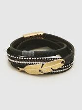 Black Multi Strand Leatherette & Clear Stones Wrap Bracelet Magnetic Closure