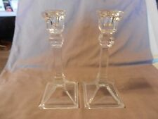 "Vintage Pair of Square Base Clear Crystal Candlesticks 8"" Tall (M)"