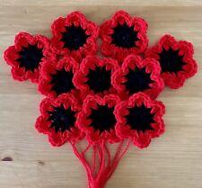 "10 CROCHET FLOWERS 2.5"" HANDMADE APPLIQUE GRANNY SQUARES BLANKETS BAGS RED POPPY"