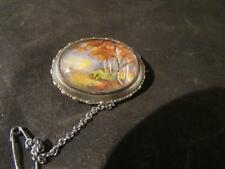 Fabulous Vintage Quality TLM Miniature Woodland Painting Brooch