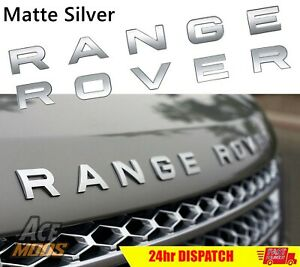 Matte Silver RANGE ROVER Front Grill Bonnet Badge Emblem And Back Lettering AUS