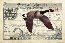 Vintage Nebraska Goose Duck Hunting License Art Print 11x17 Decoys Cabin Decor