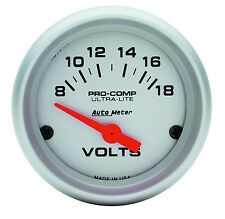 "Auto Meter 4391 Ultra-Lite Electric Voltmeter Gauge 2 1/16"" (52mm) 8 - 18 Volts"