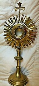 BEAUTIFUL VINTAGE CATHOLIC CHURCH ALTAR MONSTRANCE W/ HOLY GHOST RELIQUARY