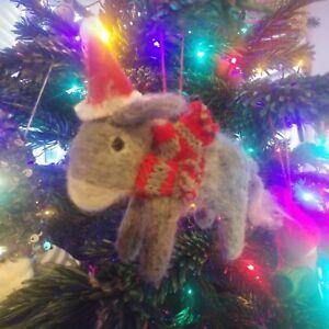 JOBLOT 30 DONKEY felt wool Christmas tree decoration NEW knitted scarf Santa