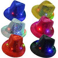 Unisex Men Women Kids LED Light Up Blinking Flashing Sequin Jazz Cap Hat Party