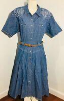 VOIR Denim Fit and Flare Dress Size M Medium Women's Short Sleeve Blue