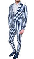 Kleid Herren Anzug Diamond in Leinen Blau Weiß Sartoriale 100% Made in Italy