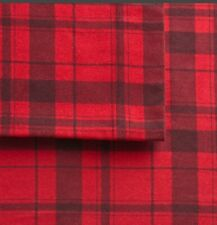 Cuddl Duds Heavyweight Cotton Red Plaid Harley Flannel Full Sheet Set