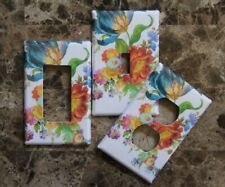 ❤️Switch Plate Outlet Covers made w/Mackenzie-Childs White Flower Market❤️