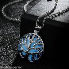 1 Halskette Halsschmuck Anhänger Kette Nachtleuchtend Lebenbaum Blau 45.5cm LP