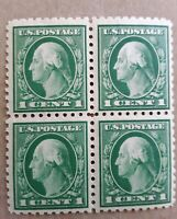 US Stamp, Block of 4 , Scott 405 , 1 Cent Washington, MINT , EXTRA FINE.