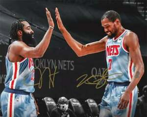 Kevin Durant & James Harden Autographed Signed 8x10 Photo (NBA Nets) REPRINT