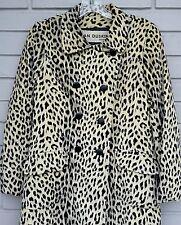 Lawrence of London Weather Resistant Faux Fur Trench Leopard Velour Coat sz 6/10