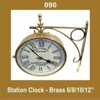 New Outdoor Nautical Station Wall Clock 6'' Brass Made