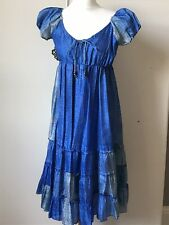 Silk 100% Dress Blue Peasant Lined Size 10/12 Holiday Summer Ethnic India