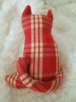 Primitive Christmas Red Plaid Cat Ornament Fabric Handmade