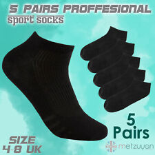 5 Pairs Ladies Cotton Rich Trainer Black Socks Ankle Sports Socks Liner Size 4-8