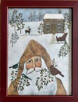 "PRIMITIVE Folk Art ""Santa's Cabin"" Framed PRINT by Bernadette Mood 14"" x 18"""