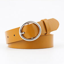 Leather Waist Belt for Women with Classic Polished Alloy Buckle Pants Size Up