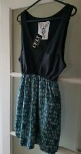 BNWT - CULT CLOTHING - BLACK AND GREEN  DRESS - ONE SIZE - UK 8-10 - RRP £39.99