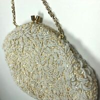 Vintage Richere Bag By Walborg Made in Hong Kong White Creme Beaded Chain Clutch