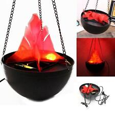 LED Hanging Fake Flame Lamp Torch Light Fire Pot Bowl Festival Party Prop Decor