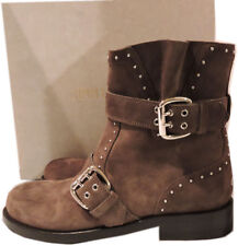 Jimmy Choo Blyss Studded Mink Suede BOOTS Motorcycle Ankle BOOTIES 37