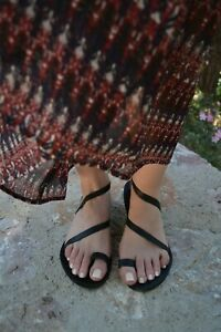 Ancient Greek style black real leather strappy toe ring flat sandals handmade