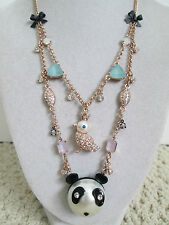 NWT Auth Betsey Johnson Pearl Critters Panda Bird Charm Beaded 2 Row Necklace