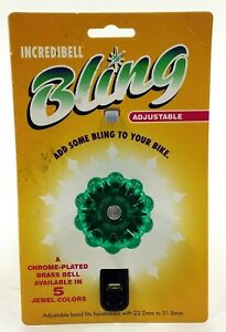 Mirrycle Bling Bicycle Bell, Adjustable 22.2-31.8 Green