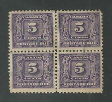 CANADA # J9 Used POSTAGE DUE, Block of Four (5359)