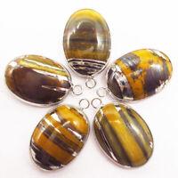 5pcs Wrapped Yellow Tiger Iron Gem Oval Pendant Bead z1940