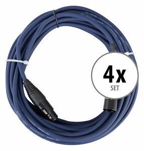 4x Set de Cable DMX XLR Male Female 3 Poles Effet Lumiere Audio Microphone 10M