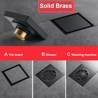 Black Brass Shower Drainer Bathroom Floor Waste Drain Deodorant Washing Drains