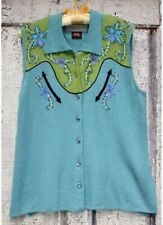 Double D Ranch Wear DD Women's Vintage Western Teal Rhinestone Embroidered Shirt
