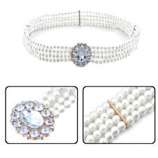 Women Ladies Girls Rhinestone Belt Diamante Buckle Fashion Pearl Waist BridCP