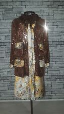 Size UK 10 12 US 6 Anna Sui Brown Bronze Sequin Floral Collarless Coat Jacket