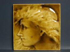 "1881 J. & J.G. Low Art Tile Company Antique glazed 6"" Facial Tile"