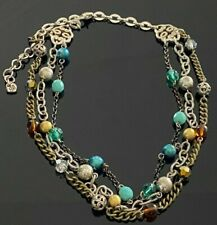 Genuine BRIGHTON Necklace Triple Strand Beaded Turquoise & Amber Colors #189
