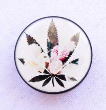 1x Acrylic Roses & Weed Marijuana Leaf Ear Lobe Plug Flesh Tunnel Taper Piercing
