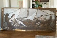 HUGE Antique Oil Painting 8 1/2 ft Long Greek Fishing Boat Woman Signed 1907
