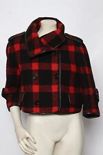 BURBERRY PRORSUM Red Buffalo Plaid Leather Wool Jacket Coat 40 US 4 MINT $3,595