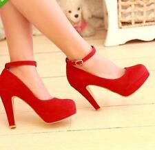 Ladies' Party Shoes Faux Suede High Heel Platform Strappy Pumps UK Size 5,6,7,8