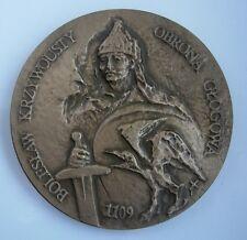 POLISH PRINCE BOLESLAW III WRYMOUTHED, MEDIEVAL BATTLE Glogau MEDAL bronze