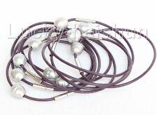 wholesale 10 piece 11mm gray FW pearls purple leather bracelet j10725