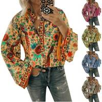 Women Floral Boho Bell Sleeve Blouse Loose V Neck Casual Holiday Tee T Shirt Top
